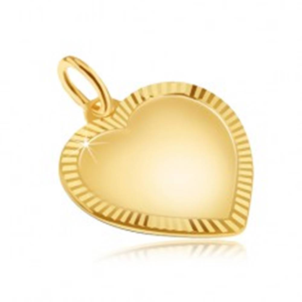 Šperky eshop Zlatý prívesok 585 - veľké pravidelné matné srdce, ligotavá ryhovaná obruba