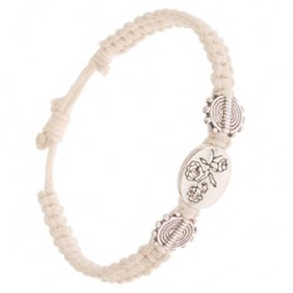 Šperky eshop Béžový šnúrkový náramok, oválna známka s kvetmi