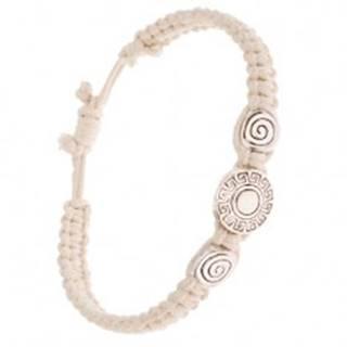 Béžový pletený šnúrkový náramok, kruhové známky, grécky kľúč
