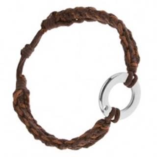 Náramok z orieškových a čokoládových šnúrok, kruhový prívesok