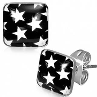 Náušnice z ocele - čierne štvorce s bielymi hviezdami