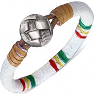 Oblý náramok omotaný bielou šnúrkou, farebné pásy, gombík