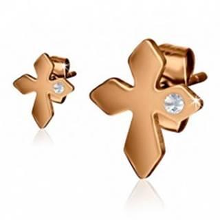 Oceľové náušnice zlatej farby, kríž s čírym kamienkom