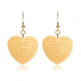 Oceľové náušnice zlatej farby, symetrické srdcia so zárezmi