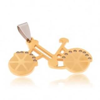 Prívesok z chirurgickej ocele - bicykel zlatej farby, číre zirkóny