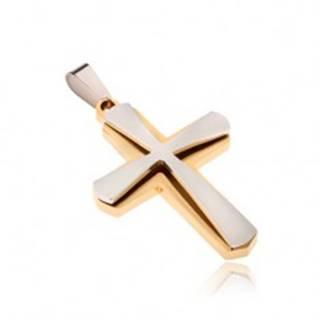Prívesok z chirurgickej ocele, zlatej farby a menší kríž striebornej farby