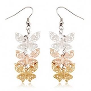 Trojfarebné oceľové náušnice - visiace, ploché vyrezávané motýle