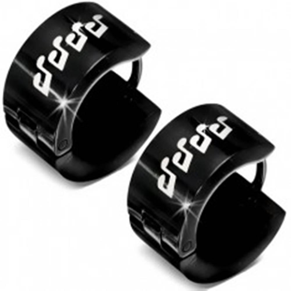 Šperky eshop Čierne lesklé náušnice z ocele - biele glazúrované noty