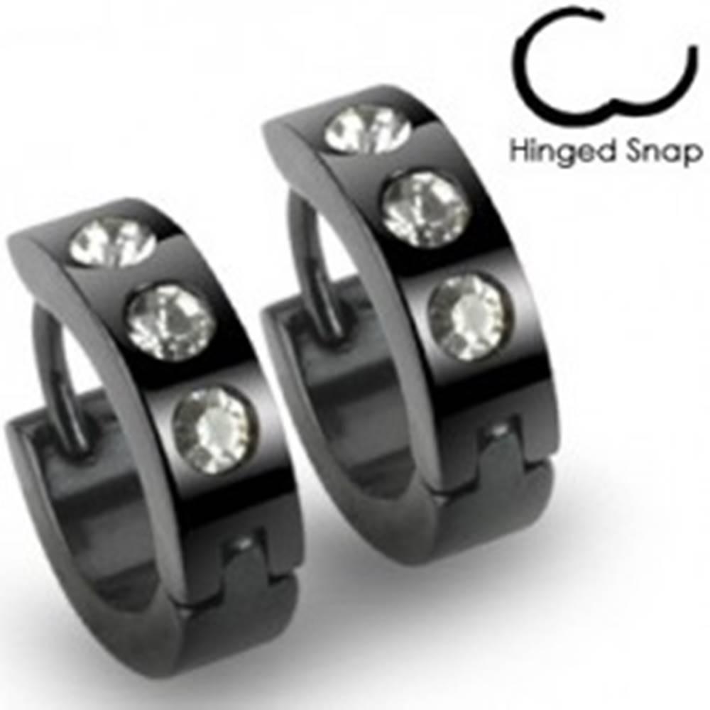 Šperky eshop Čierne náušnice z ocele - krúžky, tri okrúhle číre kamienky