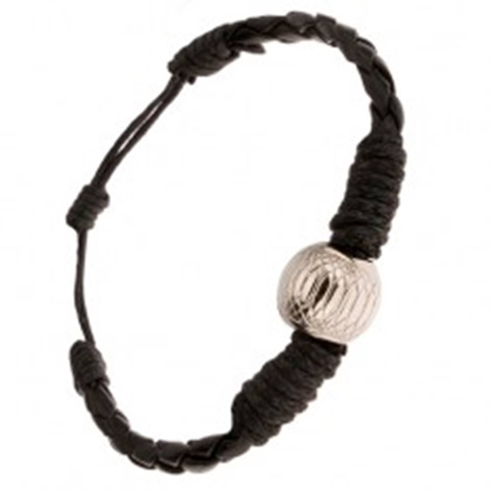 Šperky eshop Čierny pletený náramok ovinutý šnúrkou, ozdobná gulička