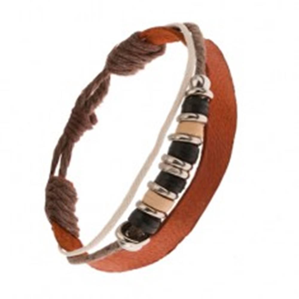 Šperky eshop Multináramok, škoricovohnedý kožený pás, hnedá a biela šnúrka, korálky
