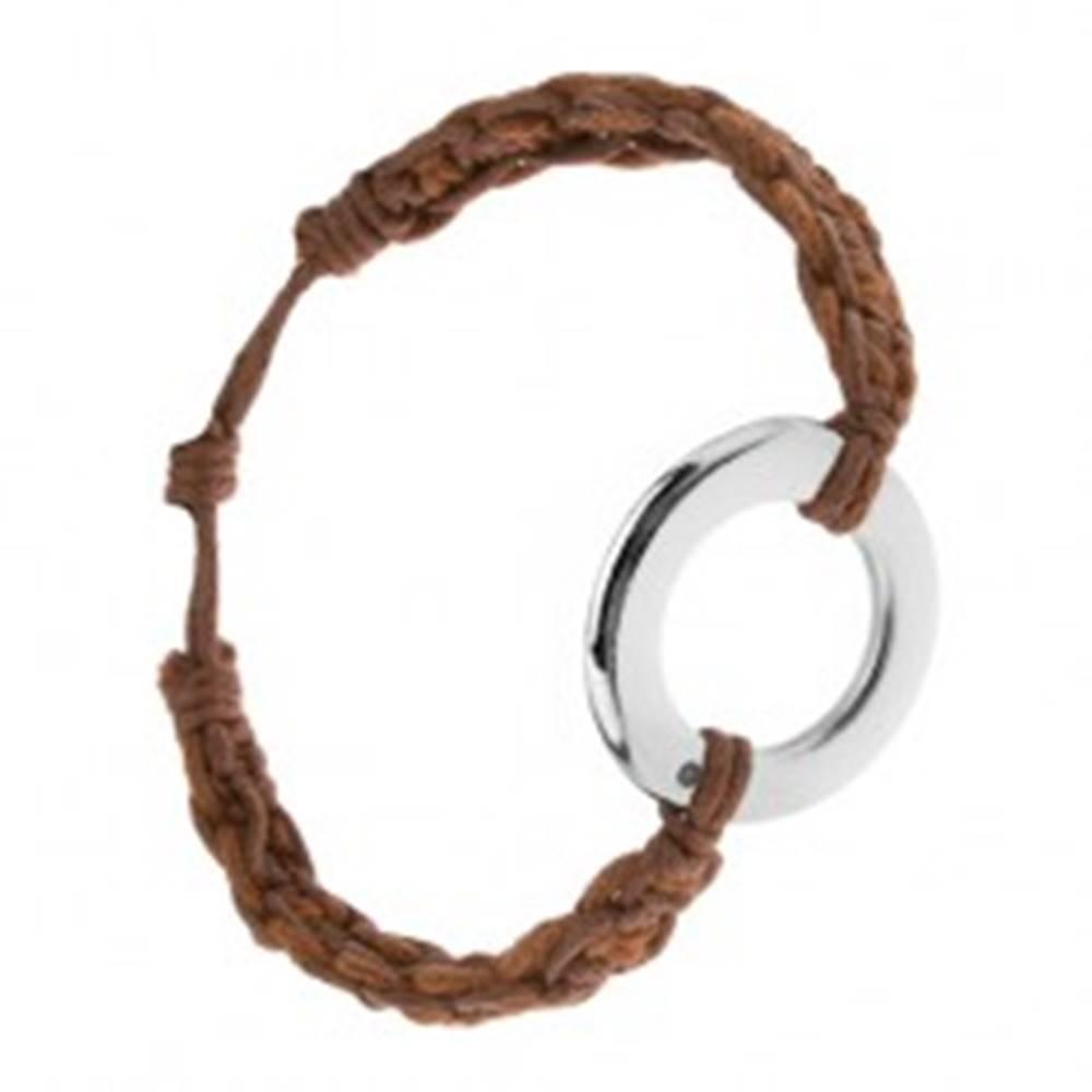 Šperky eshop Náramok z orieškových a gaštanových šnúrok, kruhový prívesok