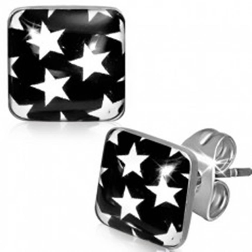 Šperky eshop Náušnice z ocele - čierne štvorce s bielymi hviezdami