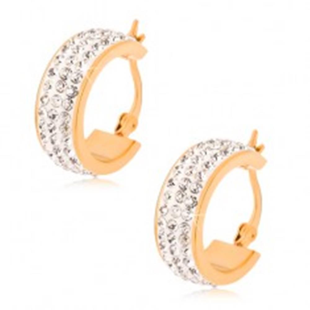 Šperky eshop Oceľové náušnice, kruhy zlatej farby so zirkónovým stredovým pásom