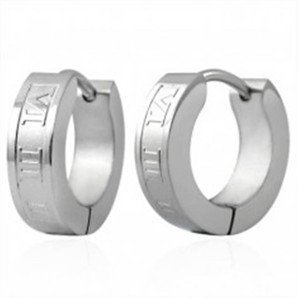 Šperky eshop Oceľové náušnice - krúžky striebornej farby, rímske číslice