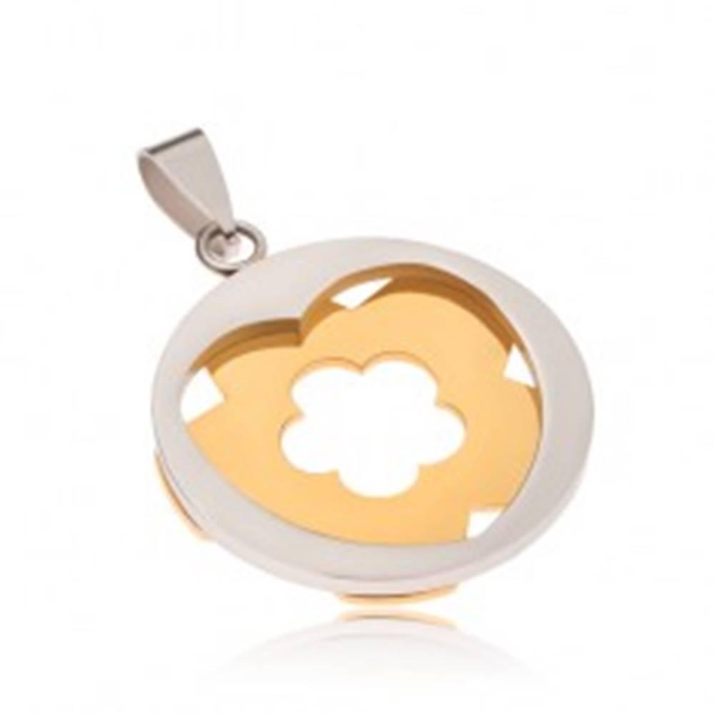 Šperky eshop Oceľový prívesok - kruh striebornej farby so srdcovým výrezom, kvet zlatej farby
