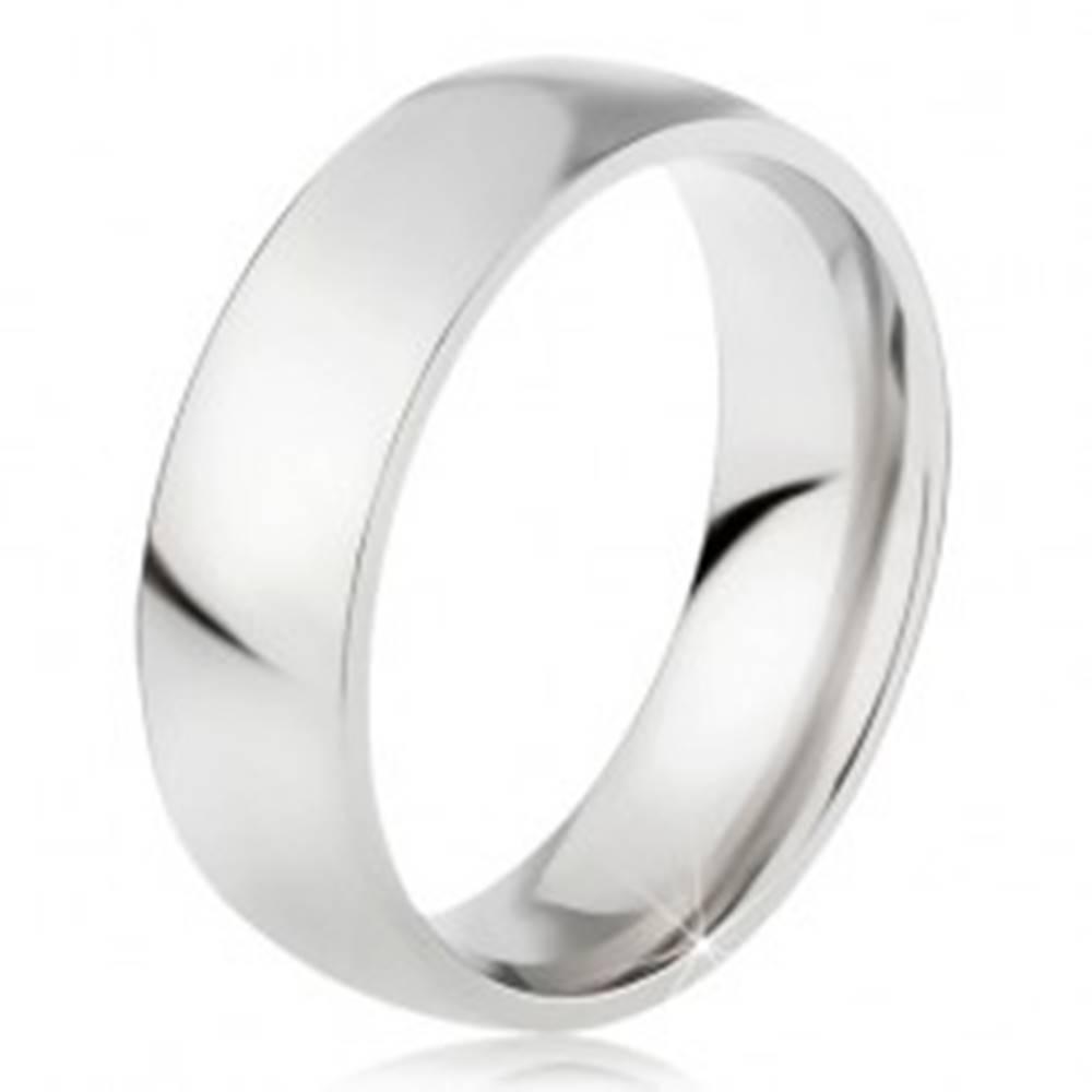 Šperky eshop Oceľový prsteň s lesklým povrchom striebornej farby, 6 mm - Veľkosť: 49 mm