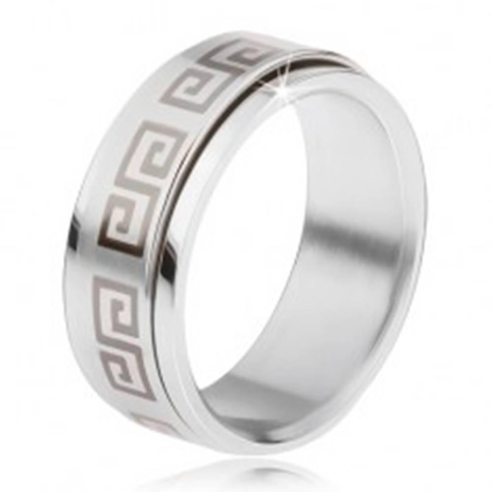 Šperky eshop Oceľový prsteň, točiaca sa matná obruč, grécky kľúč sivej farby - Veľkosť: 57 mm
