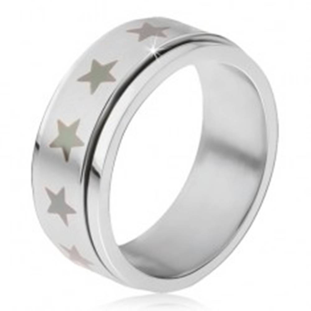 Šperky eshop Oceľový prsteň - točiaca sa matná obruč, potlač šedých hviezd - Veľkosť: 56 mm