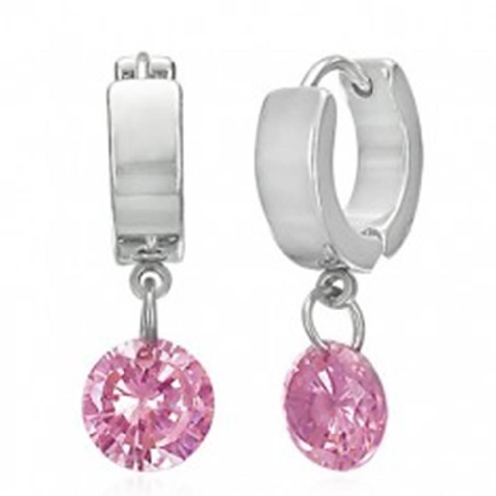 Šperky eshop Okrúhle oceľové náušnice - hladké a lesklé, visiaci ružový kužeľ