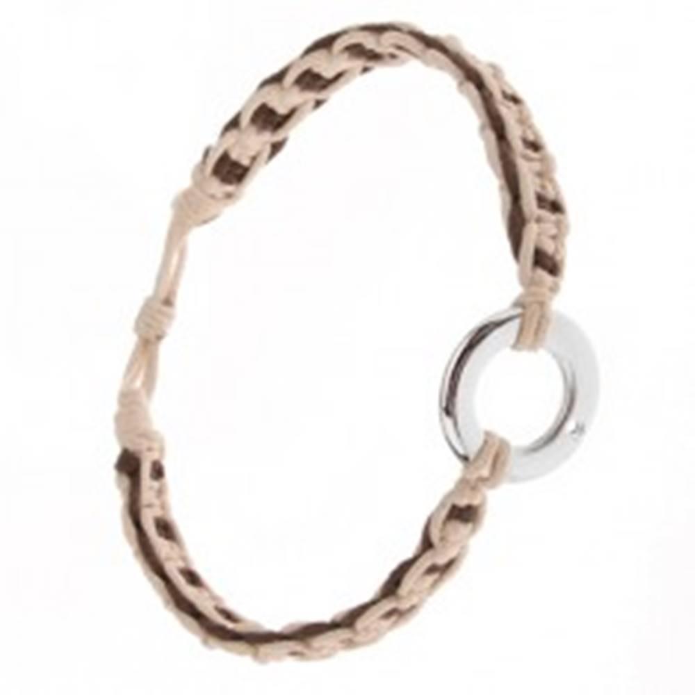 Šperky eshop Pletený náramok z béžových a čokoládových šnúrok, kovový kruh