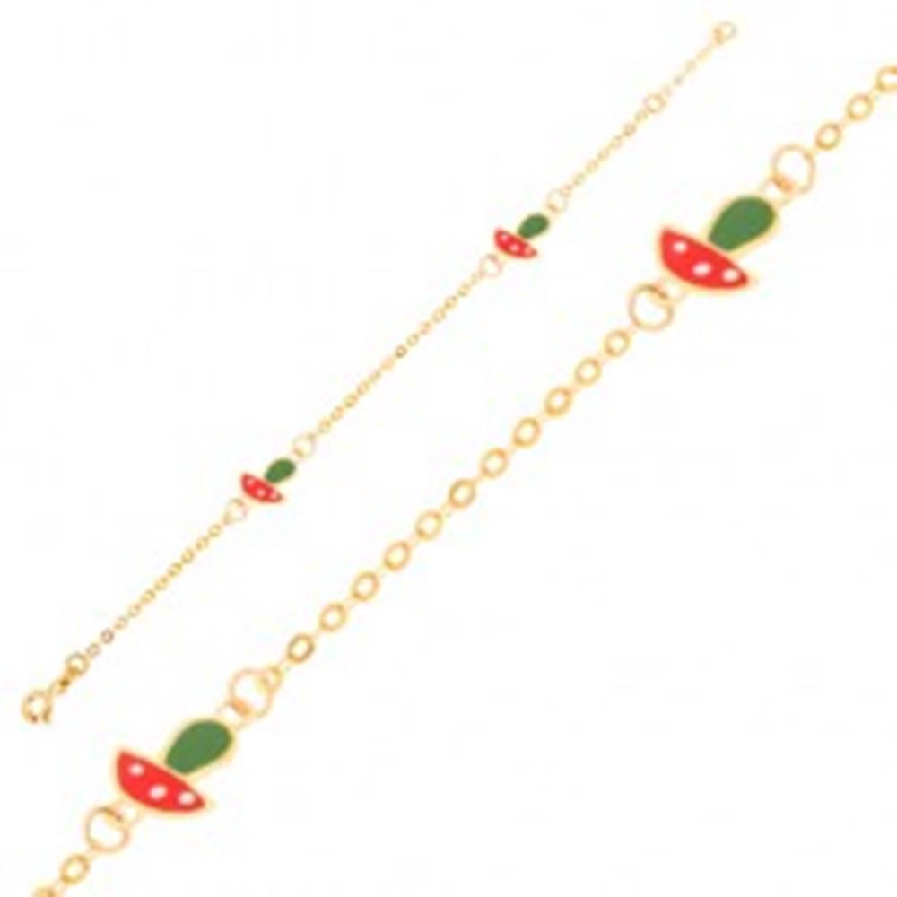 Šperky eshop Zlatý náramok 375 - lesklá retiazka, dva prívesky glazúrovaných muchotrávok