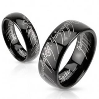 Čierna oceľová obrúčka s motívom Pána prsteňov - Veľkosť: 48 mm