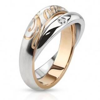 Dvojitý oceľový prsteň - obrúčky striebornej farby, zirkón, nápis Love - Veľkosť: 48 mm