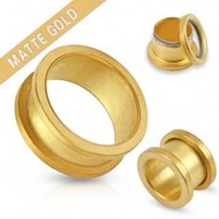Matný tunel zlatej farby do ucha z chirurgickej ocele - Hrúbka: 10 mm