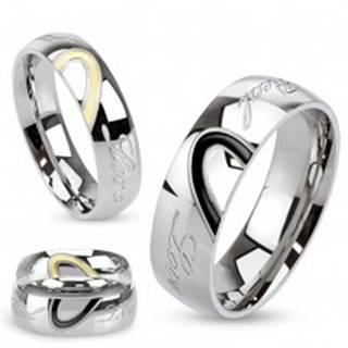 Obrúčka z ocele, kontúra srdca, gravírovaný nápis Real Love - Veľkosť: 49 mm