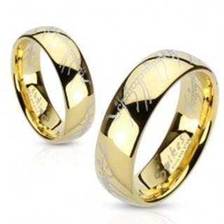 Oceľový prsteň zlatej farby, písmo z Lord of the Rings - Veľkosť: 49 mm