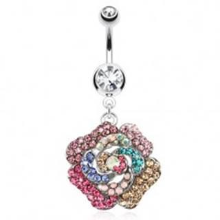 Piercing do pupka z ocele, číry kamienok, farebný zirkónový kvet