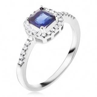 Prsteň zo striebra 925, modrý štvorcový kamienok, zirkónový lem - Veľkosť: 49 mm
