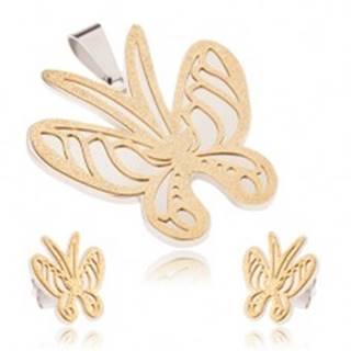 Set z ocele zlato-striebornej farby, prívesok a náušnice, pieskovaný motýľ