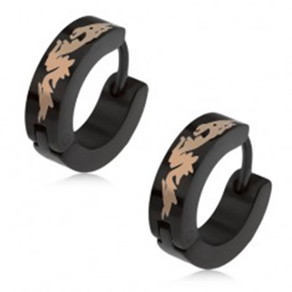 Šperky eshop Čierne okrúhle náušnice z ocele, čínsky drak striebornej farby