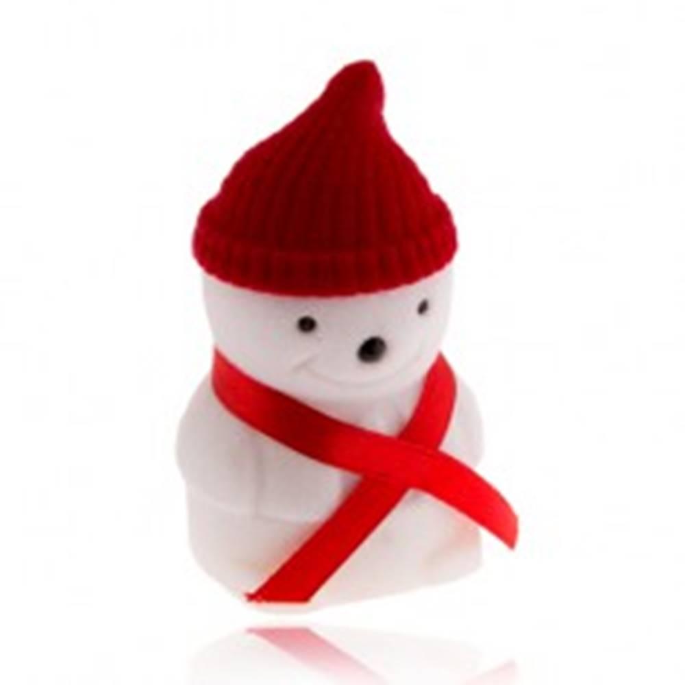 Šperky eshop Darčeková krabička na prsteň, snehuliak s červenou čiapkou