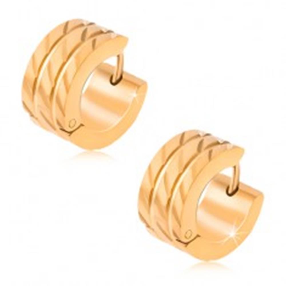 Šperky eshop Kruhové náušnice z ocele, dve rovné ryhy, diagonálne zárezy