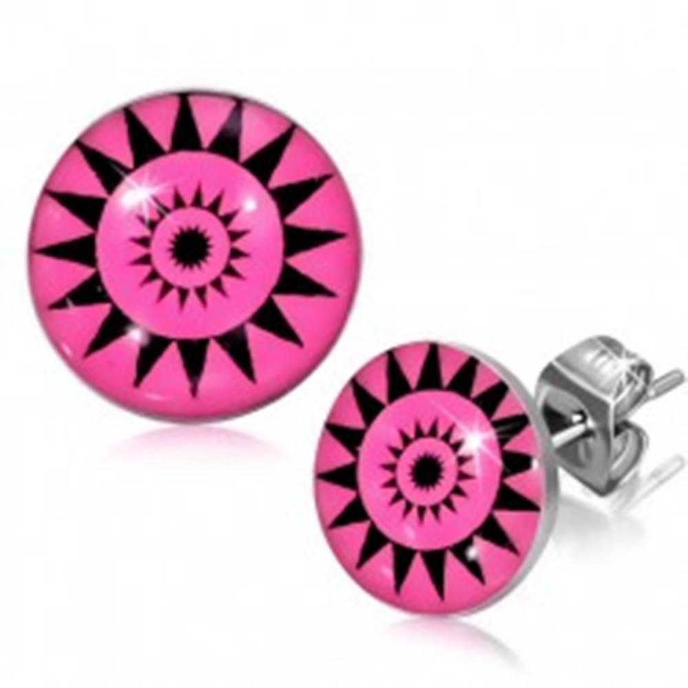 Šperky eshop Náušnice z chirurgickej ocele, slnečné kruhy na ružovom podklade