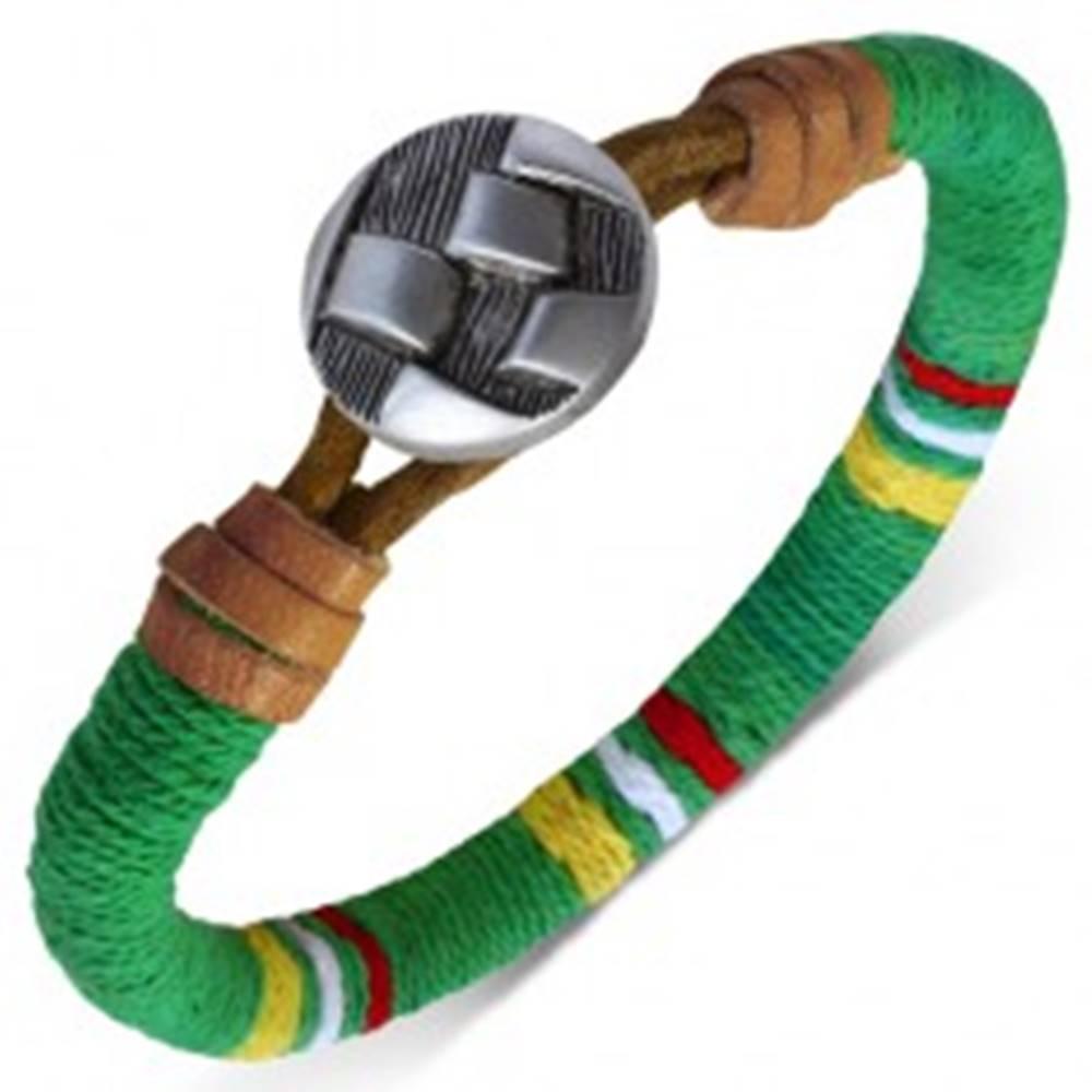 Šperky eshop Oblý náramok omotaný zelenou šnúrkou, farebné pásy, gombík