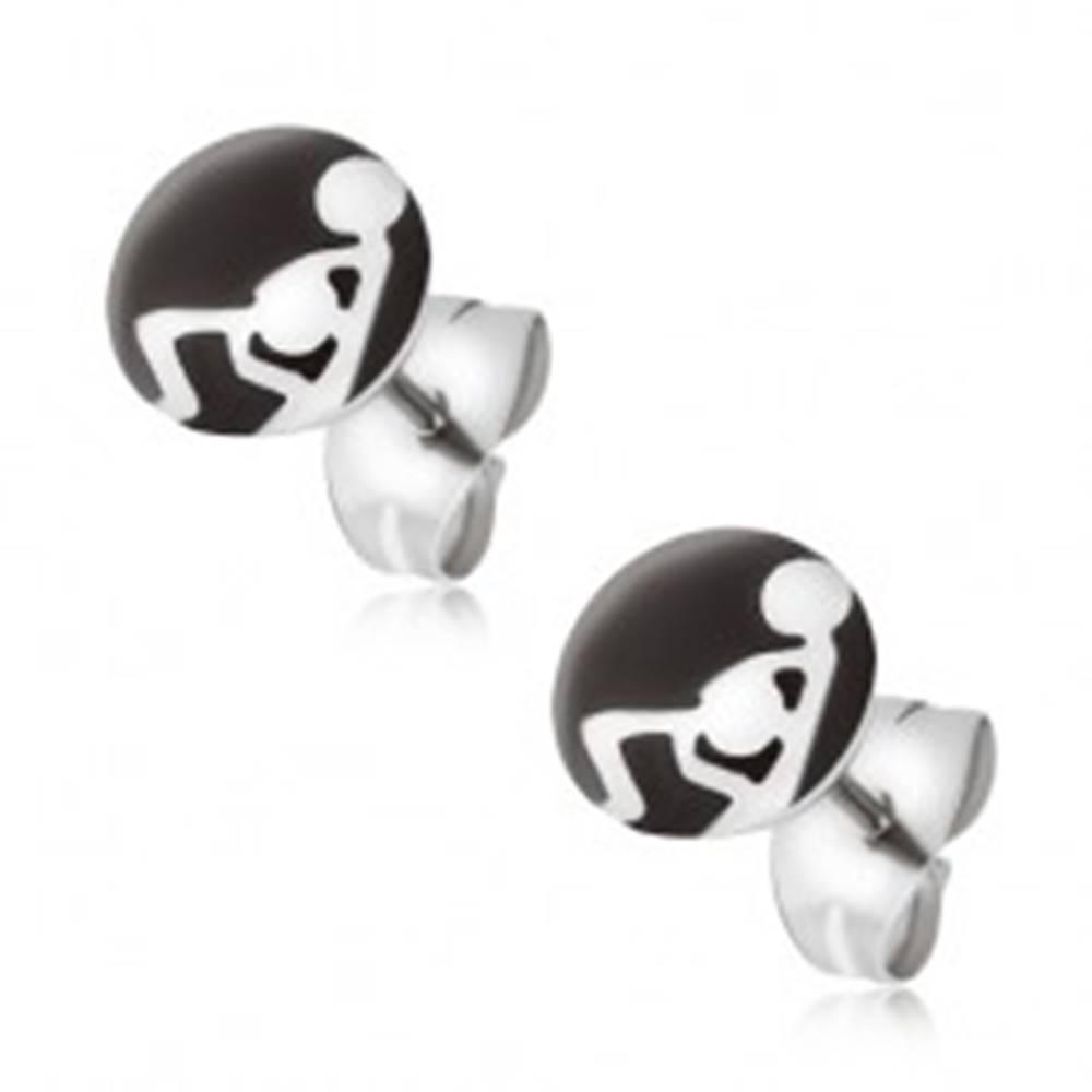 Šperky eshop Oceľové náušnice, čierno-biely obrázok so sexuálnou polohou