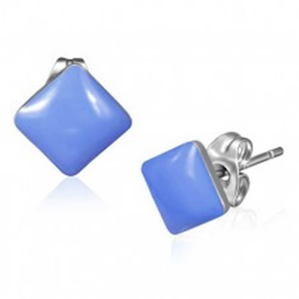 Šperky eshop Oceľové náušnice, glazúrované fialové štvorce
