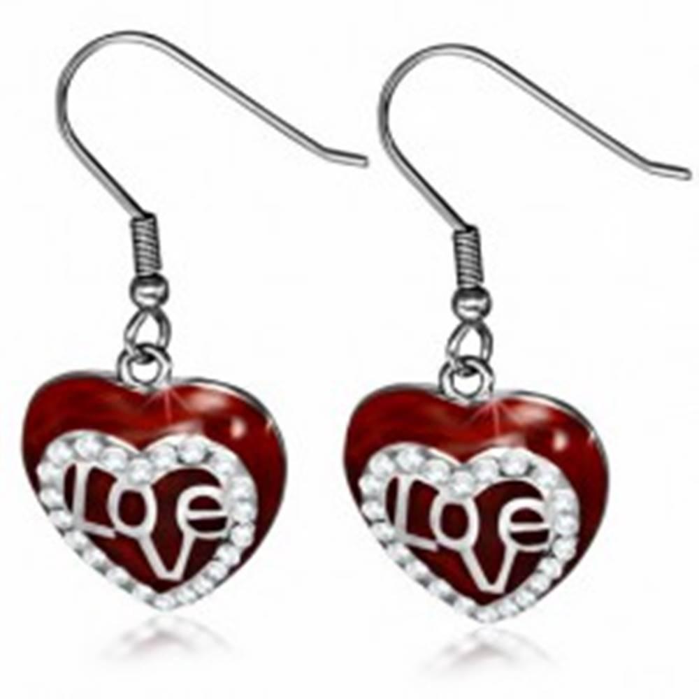 Šperky eshop Oceľové náušnice - visiace bordové srdce, číra zirkónová kontúra