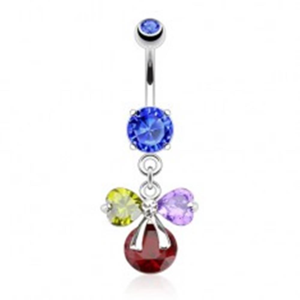 Šperky eshop Oceľový piercing do brucha, farebná zirkónová mašľa