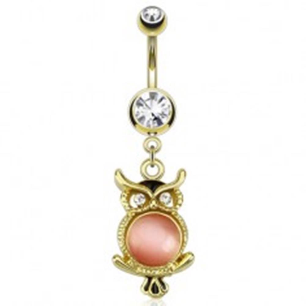 Šperky eshop Oceľový piercing do pupka v zlatej farbe, sova s ružovým kamienkom