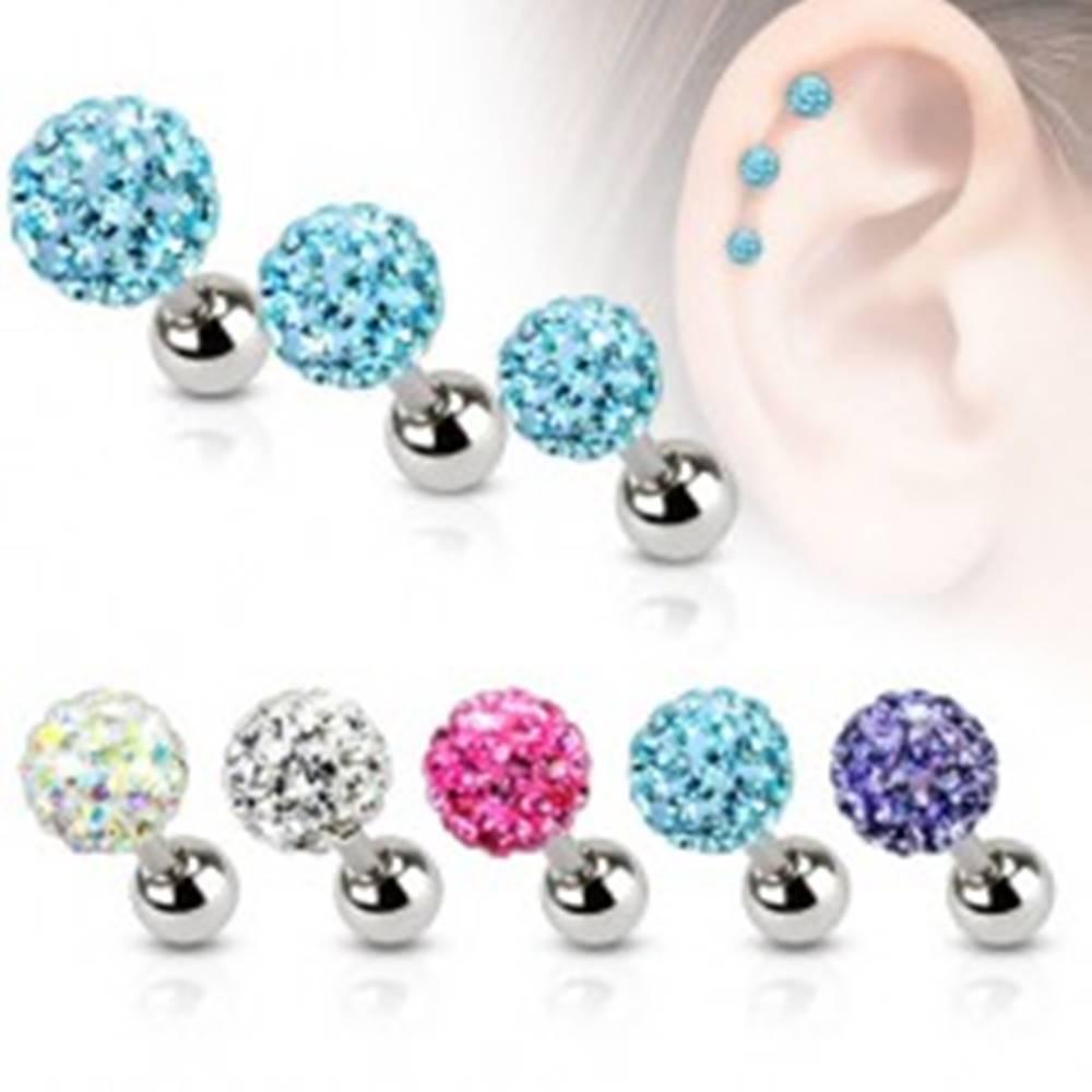 Šperky eshop Oceľový piercing do ucha, farebná zirkónová gulička, 5 mm - Farba zirkónu: Aqua modrá - Q