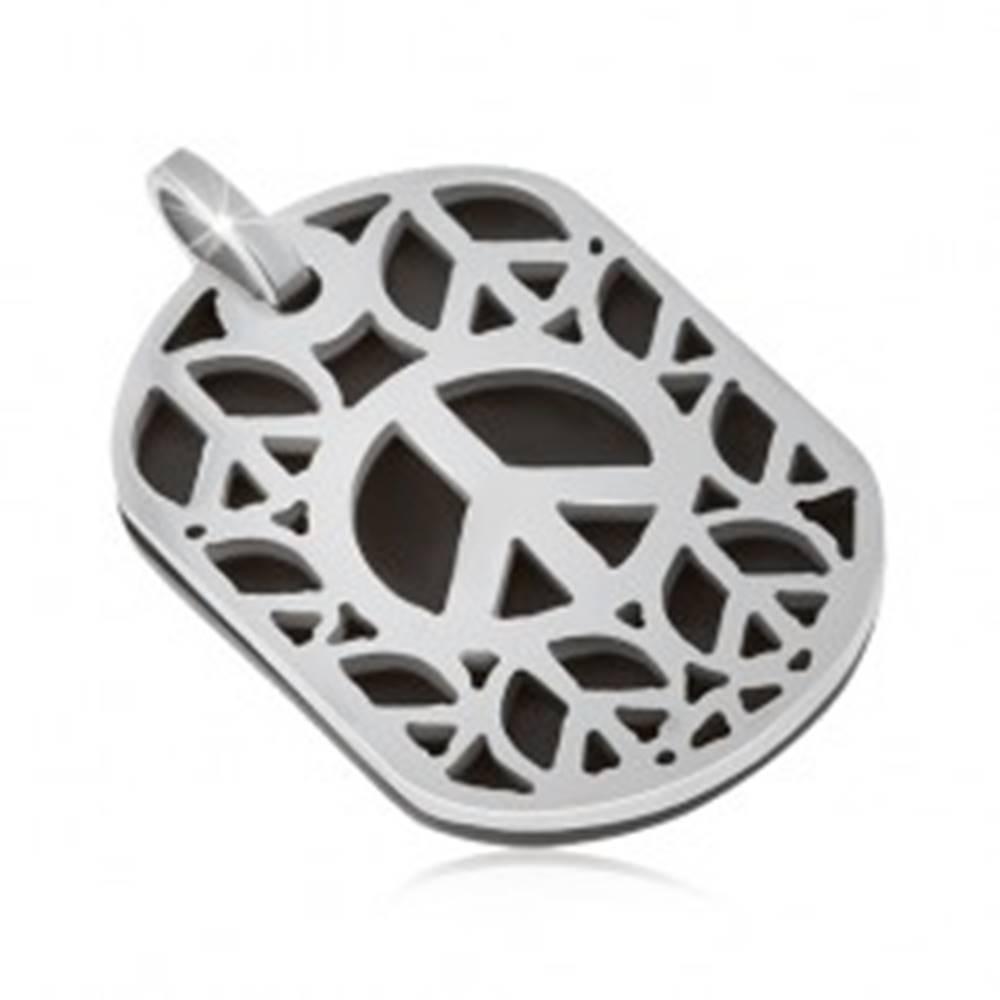 Šperky eshop Oceľový prívesok - známka s vyrezávaným motívom znaku mieru, dvojfarebná