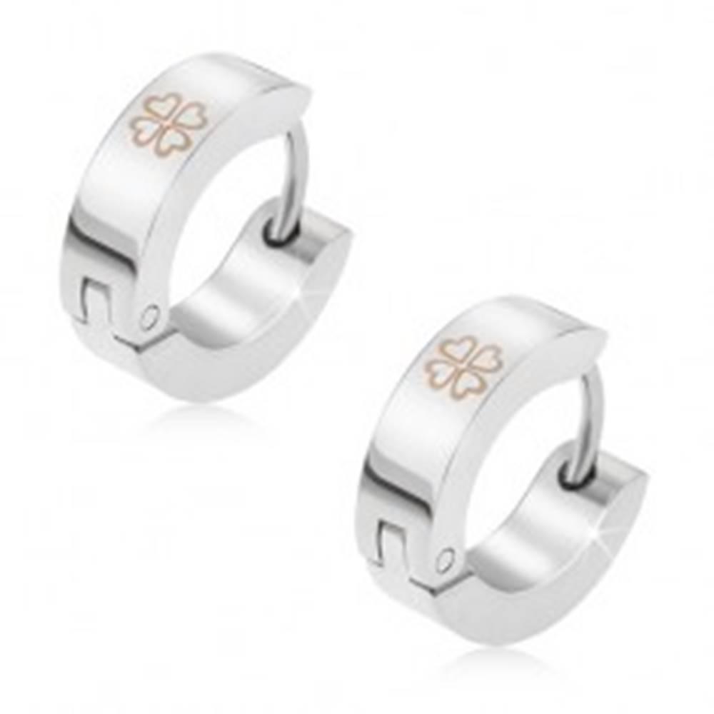 Šperky eshop Okrúhle náušnice z chirurgickej ocele, srdiečkový štvorlístok