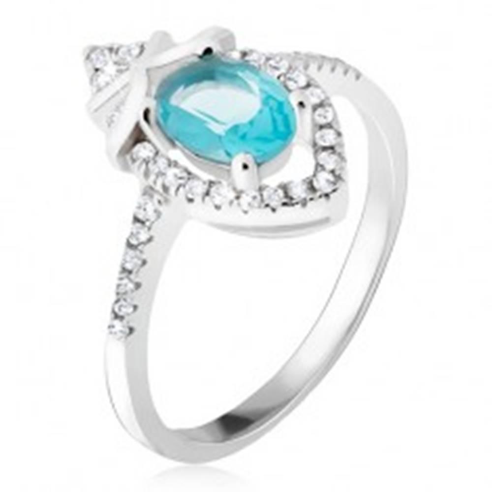 Šperky eshop Prsteň zo striebra 925, azúrový oválny kamienok, zirkónová slza - Veľkosť: 50 mm