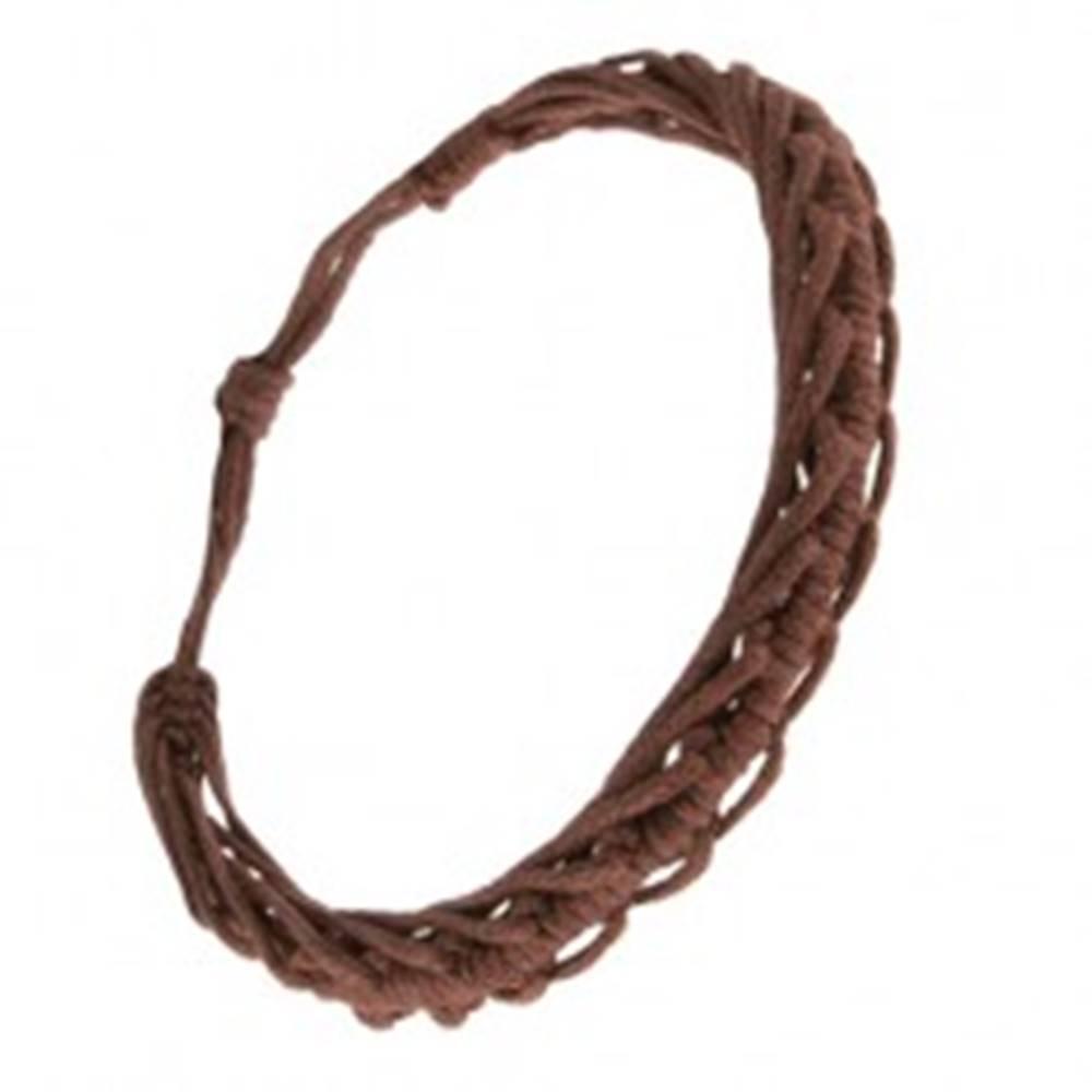 Šperky eshop Šnúrkový náramok  - spletené čokoládovohedé motúze, motív stonožky