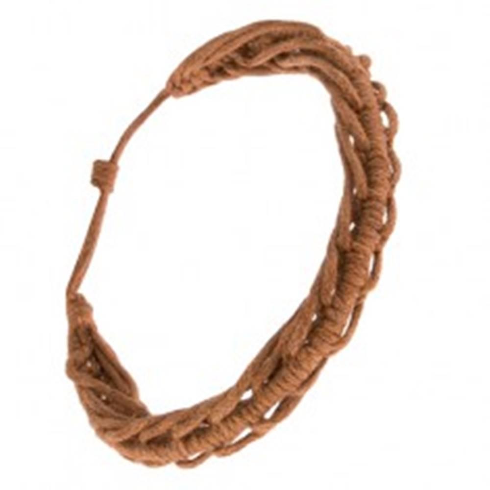 Šperky eshop Šnúrkový náramok - zapletané škoricovohnedé motúziky, vzor stonožky